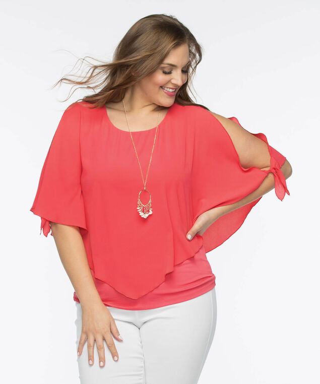 Tie-Sleeve Cold Shoulder Overlay Top, Coral Reef, hi-res