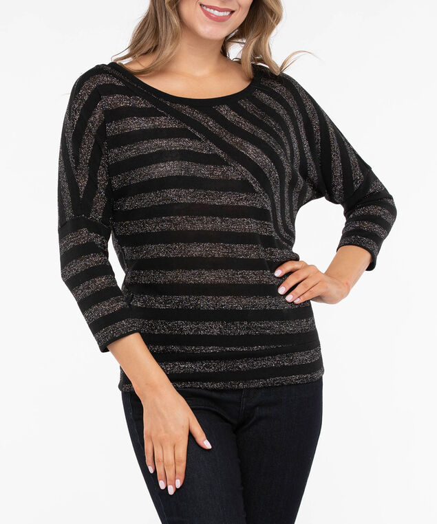 Metallic Striped Lightweight Knit Top, Black, hi-res