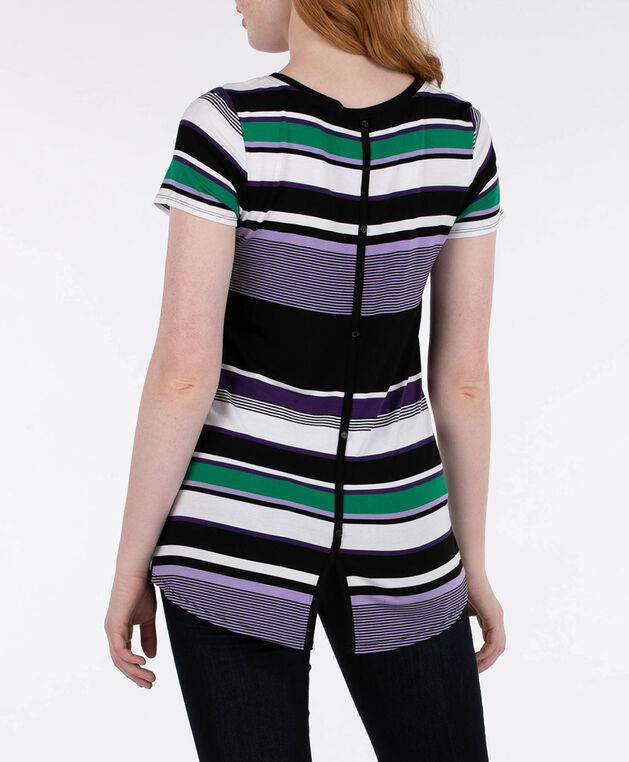 Striped Button Trim Top, Black/Pearl/Mauve/Green, hi-res