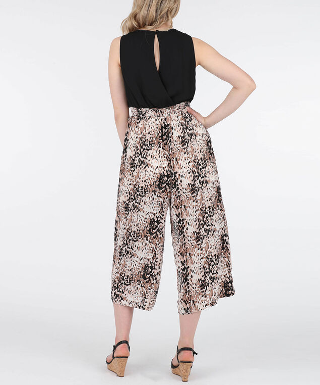 CrossOver Animal Print Jumpsuit, Black/Brown/Beige, hi-res