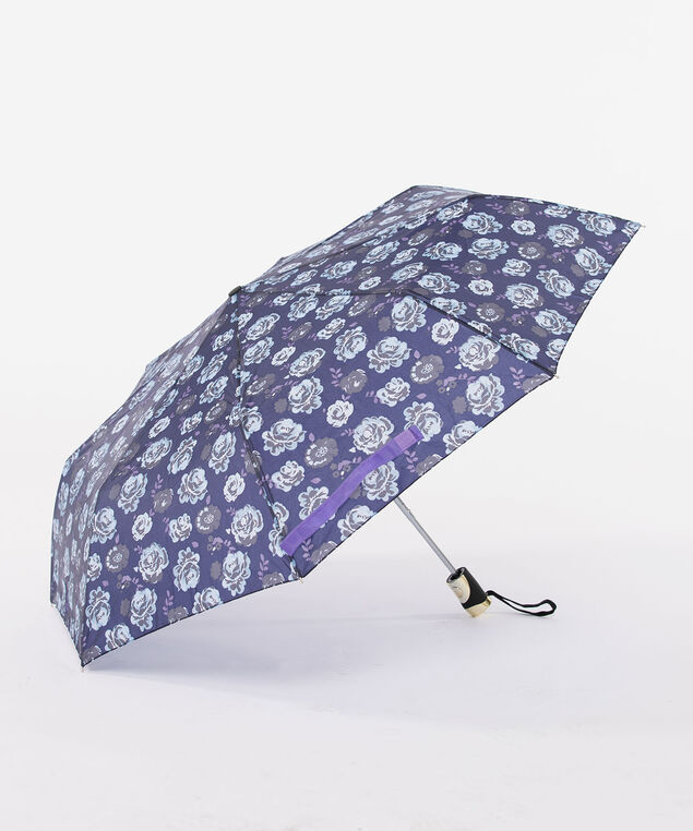 Floral & Gold Umbrella, Deep Sapphire/Steel Blue, hi-res