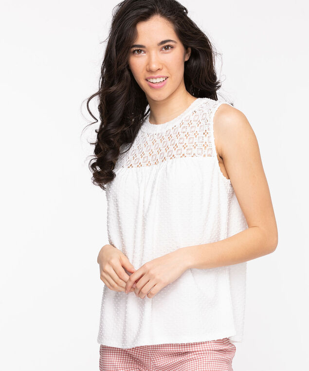 Swiss Dot Crochet Sleeveless Top, Snow White