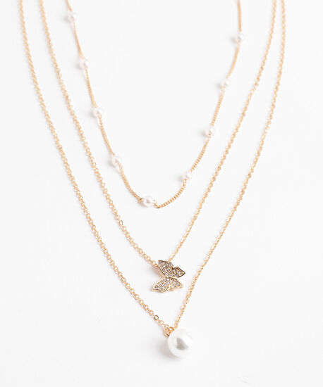 Layered Pearl & Butterfly Necklace, Gold, hi-res