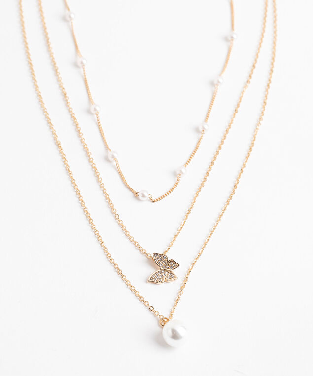 Layered Pearl & Butterfly Necklace, Gold