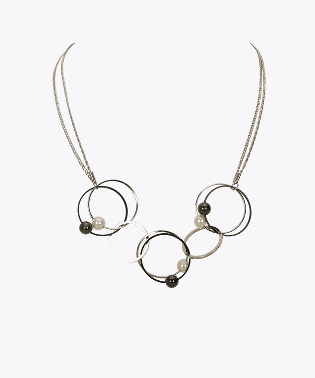 Intertwined O-Ring & Pearl Statement Necklace, Black/Pearl/Rhodium, hi-res
