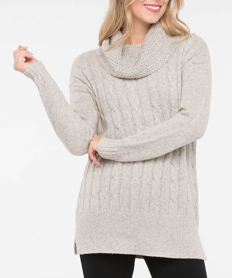 Cable Knit Cowl Neck Tunic Sweater, Ecru Mix, hi-res
