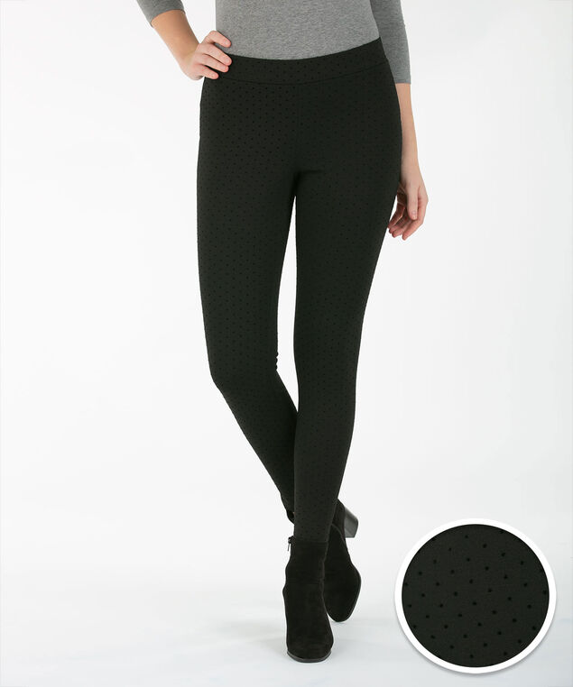 Flocked Dot Ponte Legging, Black, hi-res