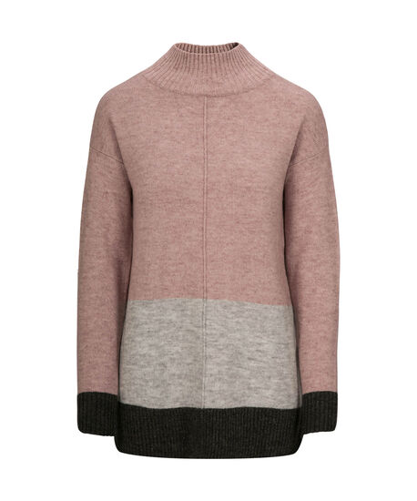 Plush Colour Block Pullover Sweater, Pink/Grey, hi-res