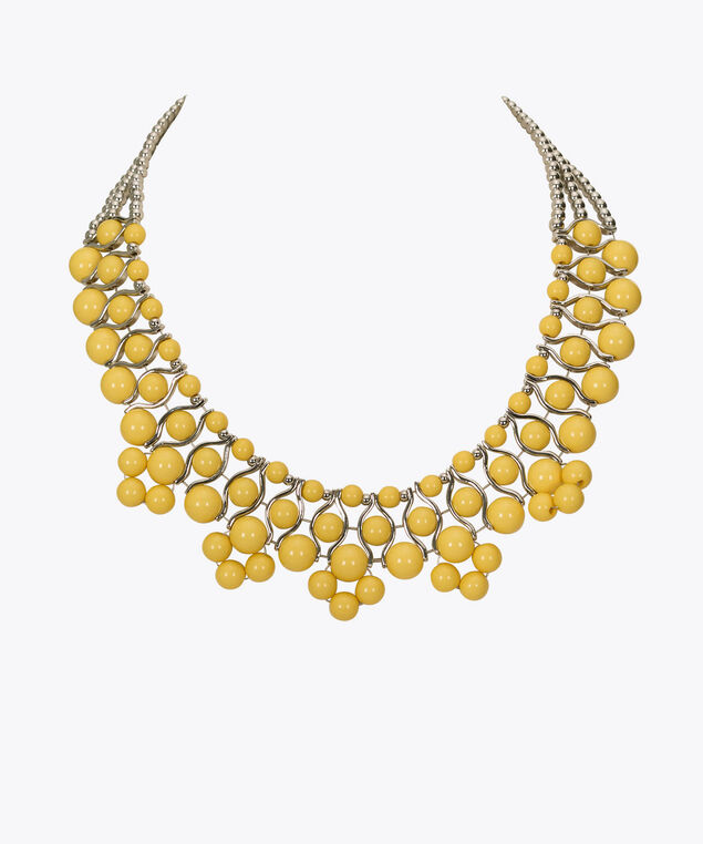 Yellow Beaded Statement Necklace, Yellow/Rhodium, hi-res