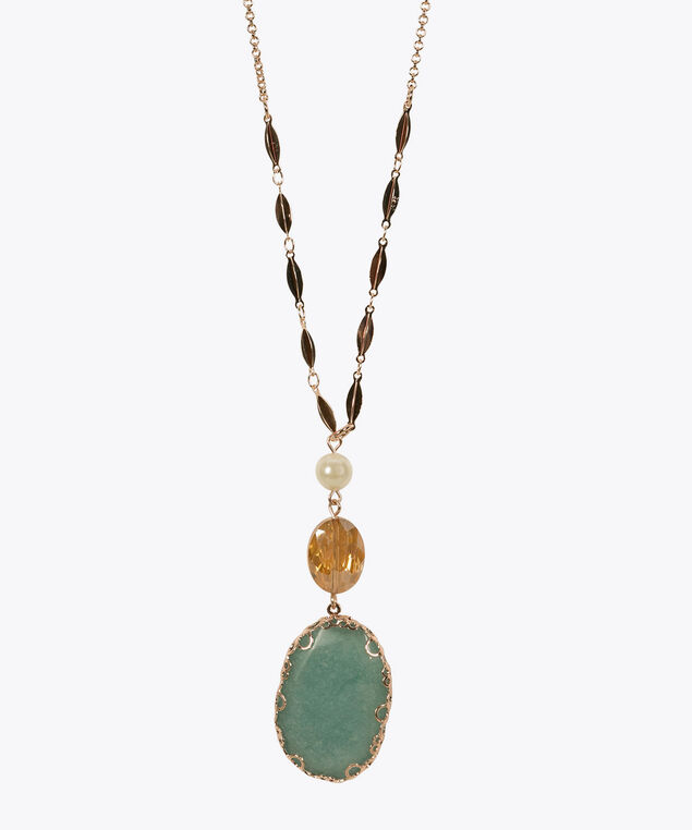 Natural Stone Pendant Necklace, Aqua/Soft Gold, hi-res