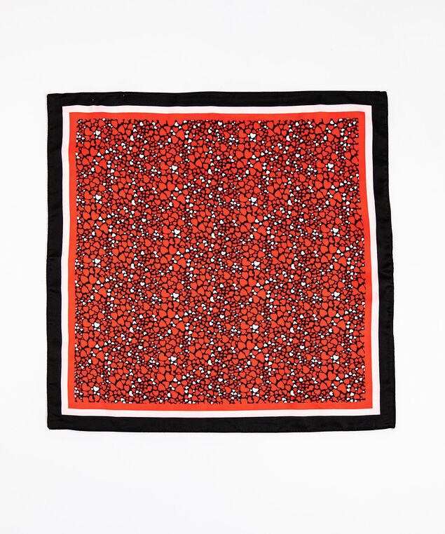 Scattered Hearts Square Scarf, Red/Pink/Black