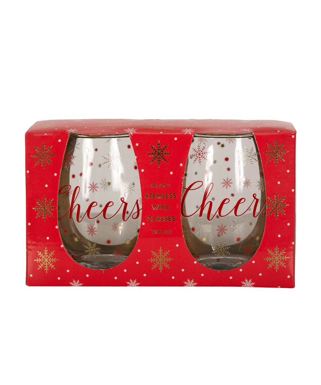 """Cheers"" Wine Glass Set, Red/Gold/Clear, hi-res"