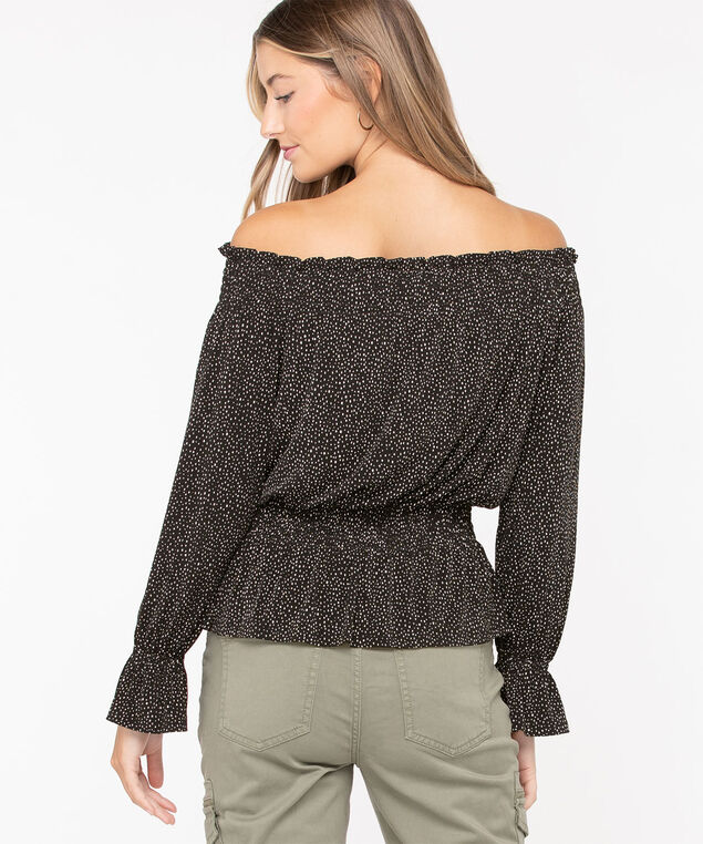 Smocked Off Shoulder Top, Black/Pearl, hi-res