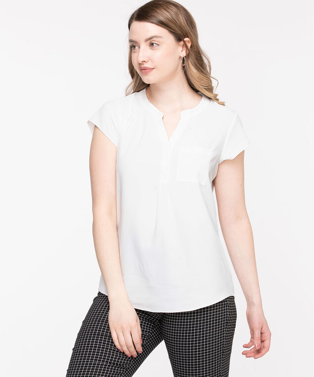 Short Sleeve Henley Pocket Blouse, Whisper White