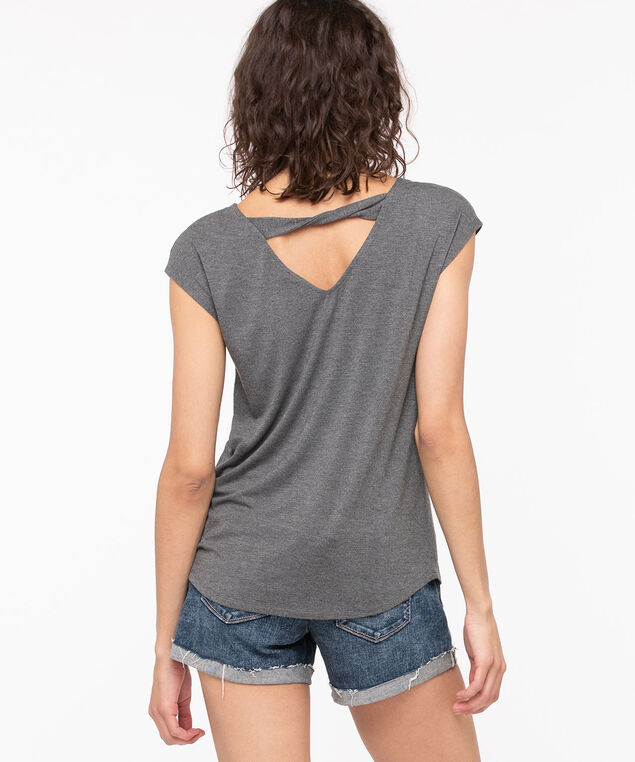 Twist Back Extended Sleeve Graphic Top, Grey, hi-res