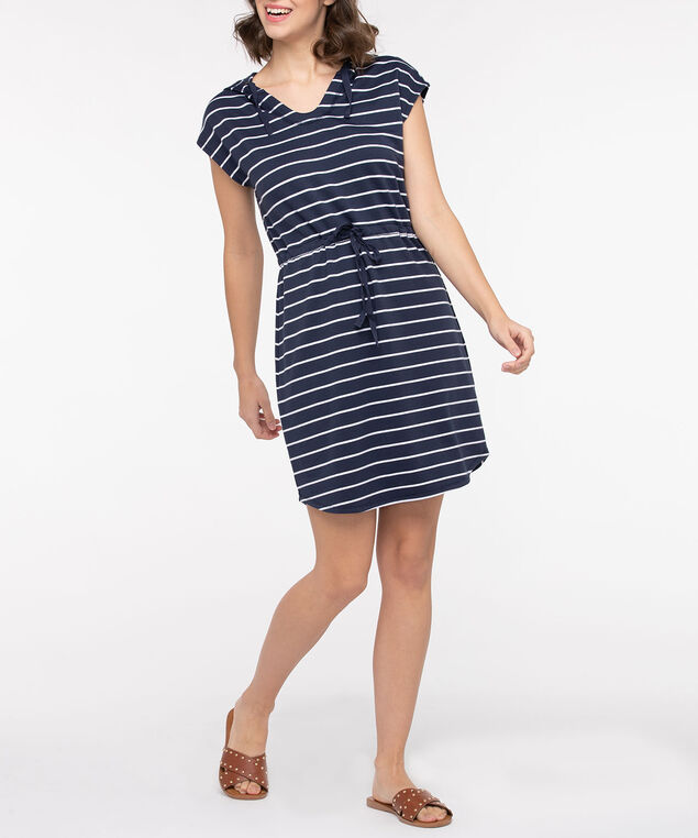 Stripe Short Sleeve Hooded Dress, Summer Navy/True White, hi-res