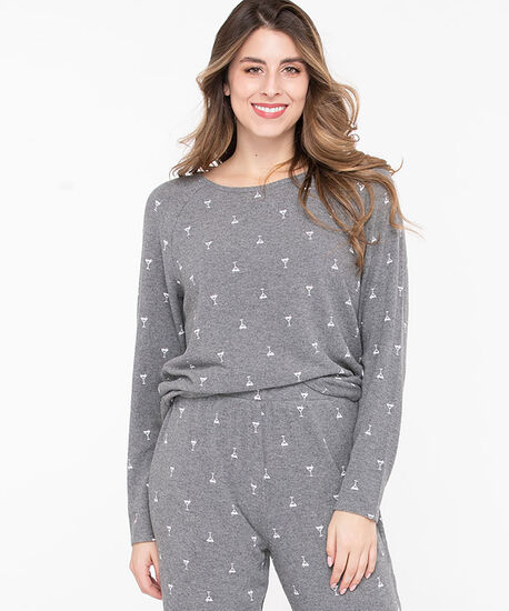 Long Sleeve Holiday PJ Top, Grey/White Martinis, hi-res