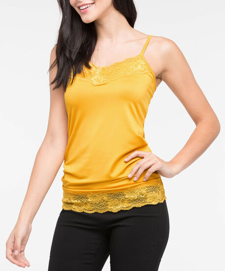 Lace Trim Strappy Cami, Mustard, hi-res