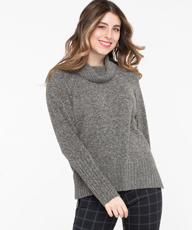 Ribbed Cowl Neck Pullover, Charcoal