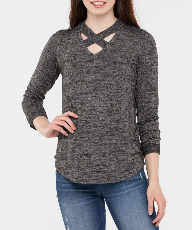 Cross Neck Lightweight Knit Top, Mid Heathered Grey, hi-res
