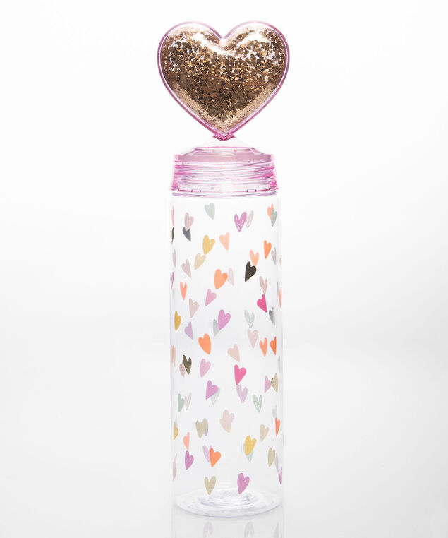 Sparkly Heart Topped Water Bottle, Gold/Bright Pink, hi-res