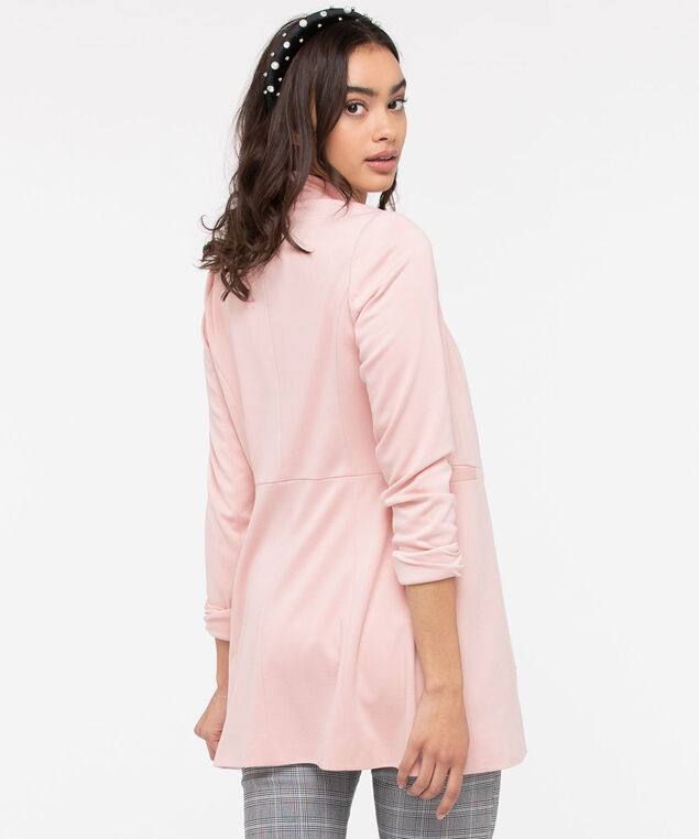 Inverted Notch Collar Long Blazer, Rose Petal, hi-res