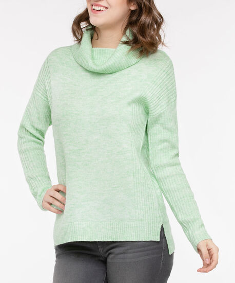 Ribbed Trim Cowl Neck Sweater, Pistachio, hi-res