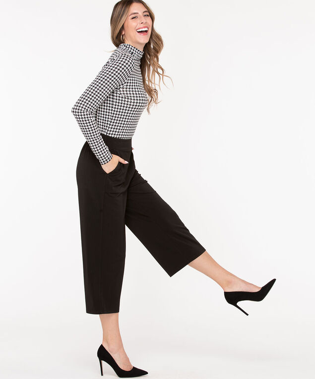 Knit Wide Leg Crop Pants, Black, hi-res