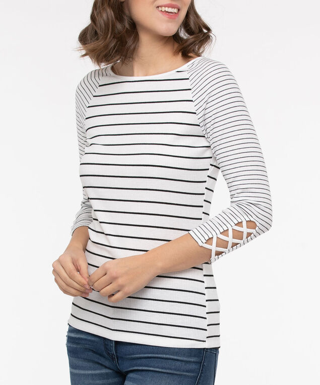 Rib Knit Criss Cross Sleeve Top, Pearl/Black, hi-res
