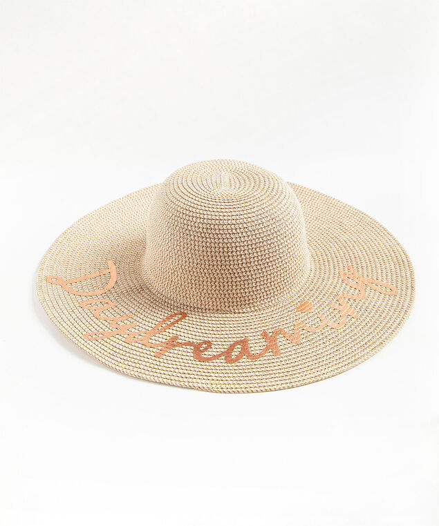 Graphic Floppy Paper Hat, Natural/Rose Gold