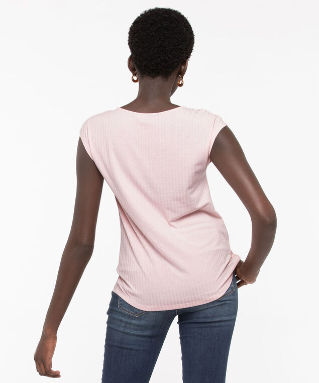 Scoop Neck Textured Stripe Top, Rose Petal, hi-res