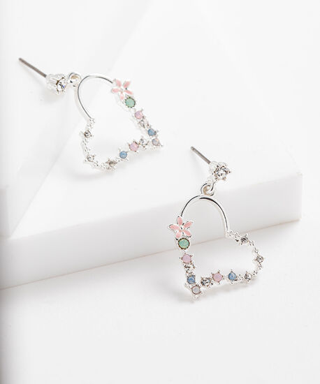Floral Open Heart Drop Earring, Silver/Pink/Green, hi-res