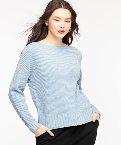 Ribbed Boat Neck Pullover Sweater, Blue Bell, hi-res