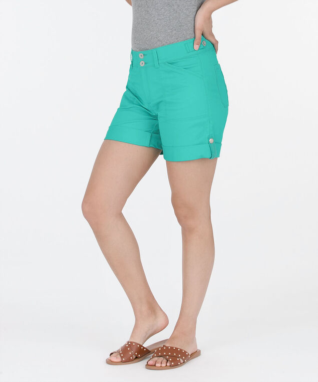 Washed Twill Roll-Cuff Short, Aqua, hi-res