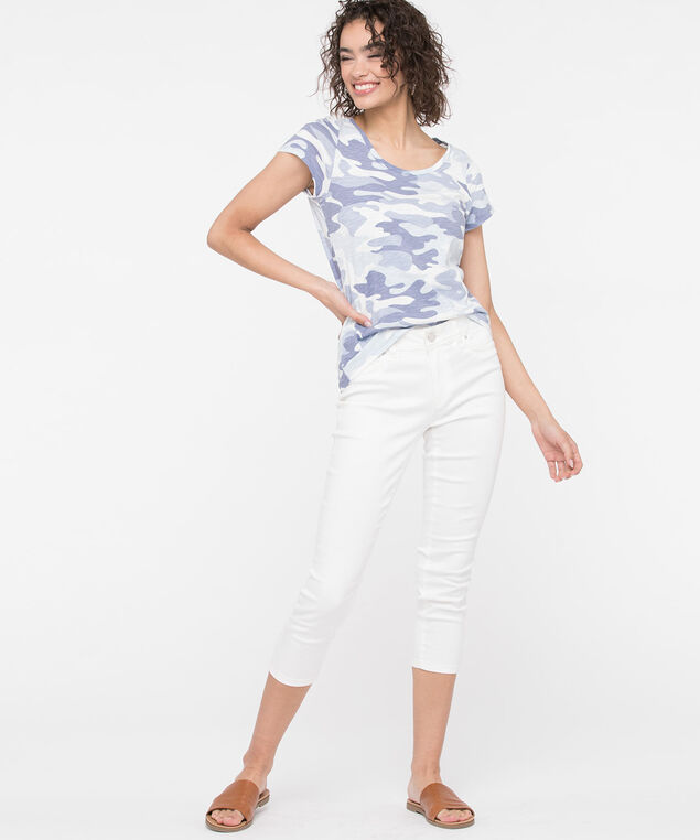 Short Sleeve Scoop Neck Tee, Light Blue/Blue/Pearl, hi-res