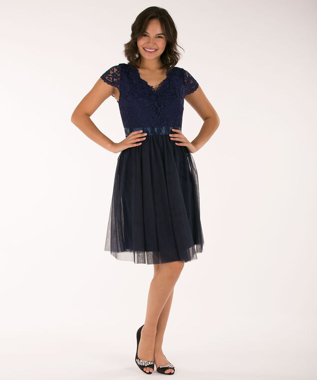 Double-V Lace & Tulle Dress, Navy, hi-res