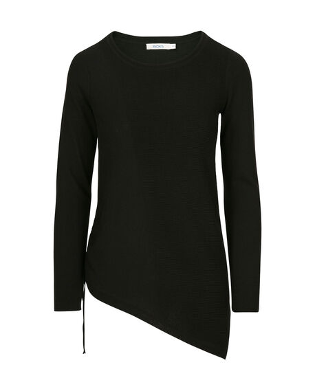Asymmetrical Pullover Sweater, Black, hi-res