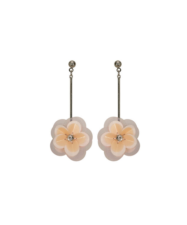 Paillette Flower Drop Earring, Pastel Pink/Rhodium, hi-res