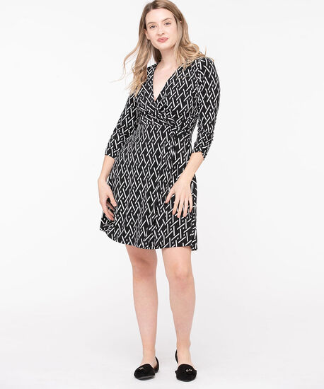 Ruched Sleeve Knot Wrap Dress, Black/Pearl, hi-res