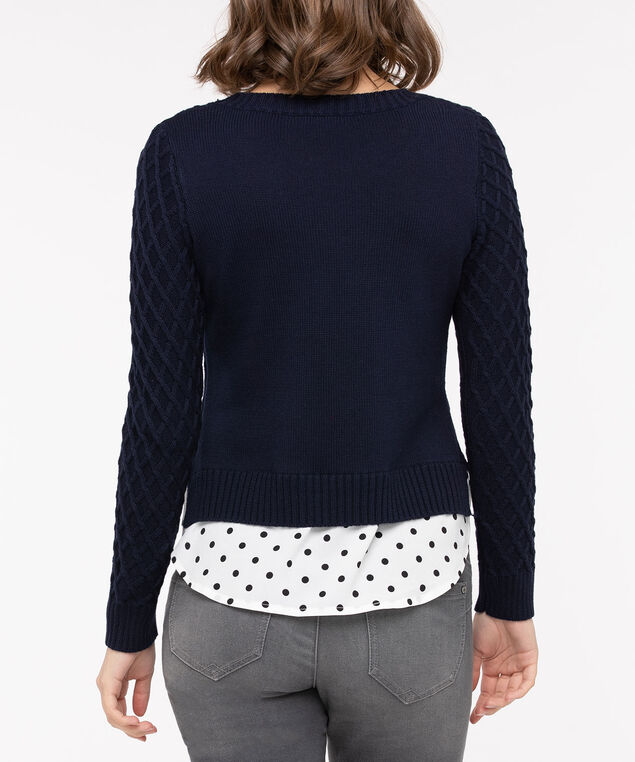 Contrast Hem Fooler Sweater, Navy/Pearl/Black, hi-res