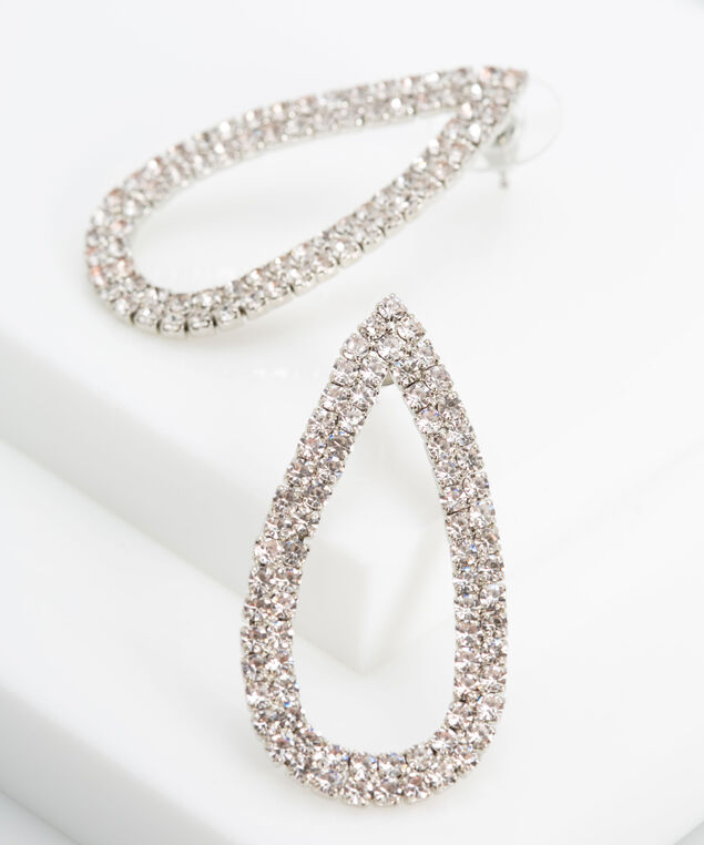 Pave Crystal Teardrop Earring, Rhodium, hi-res
