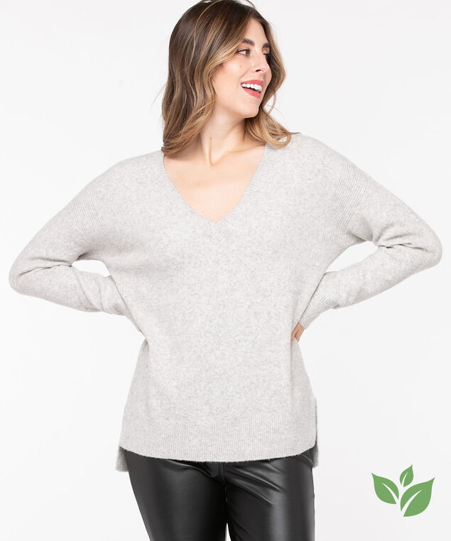 Eco-Friendly V-Neck Sweater, Light Grey