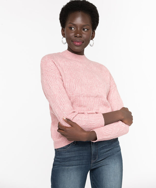 Cable Knit Mock Neck Sweater, Misty Rose, hi-res