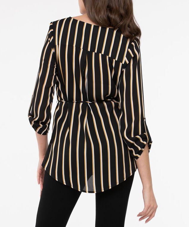 Roll Sleeve Belted High/Low Blouse, Black/Marigold/Pearl, hi-res