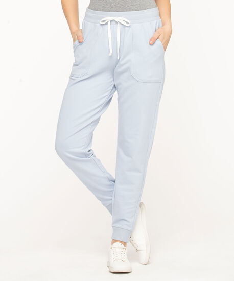 French Terry Drawstring Joggers, Heather, hi-res