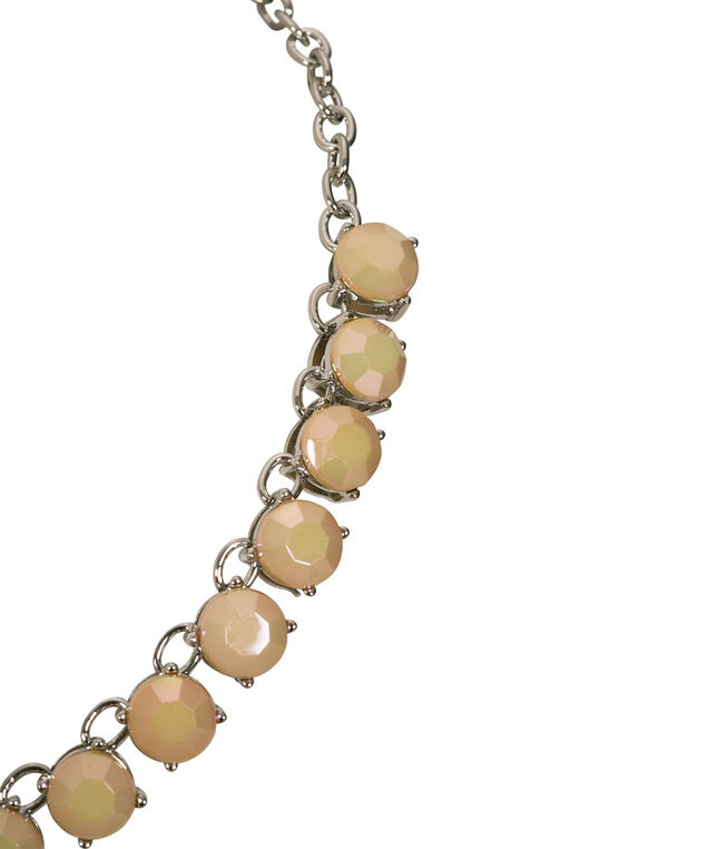 Faceted Stone Collar Necklace, Pink/Taupe/Rhodium, hi-res