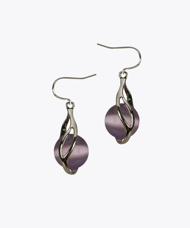 Swirl-Wrapped Cateye Earring, Iced Violet/Rhodium, hi-res