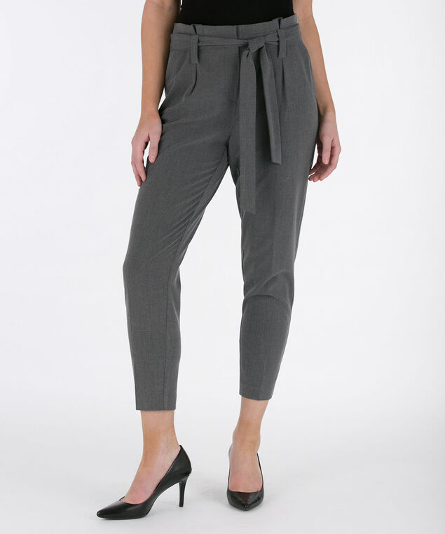 Tri-Blend Paper-bag Waist Ankle Pant, Heather Grey, hi-res