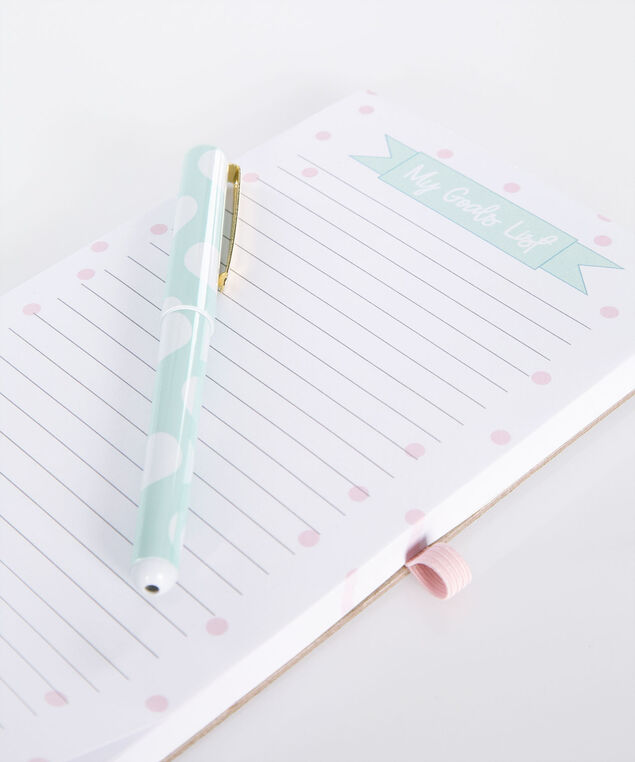 Magnetic List Pad & Pen Set, White/Pink/Blue, hi-res