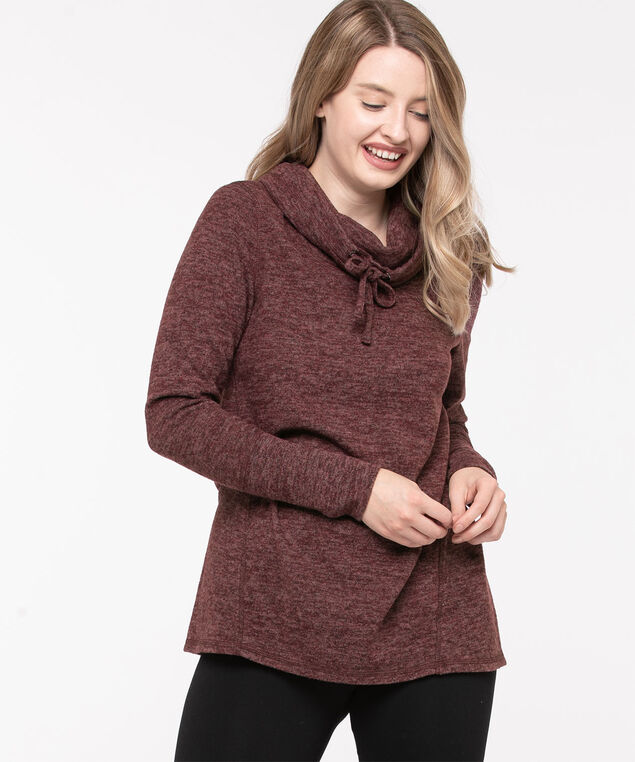 Cozy Cowl Neck Tunic Top, Windsor Wine Mix, hi-res